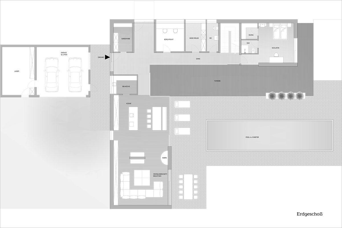 Grundriss Obergeschoß - Design Ferienhaus Bauhausvilla Kärnen