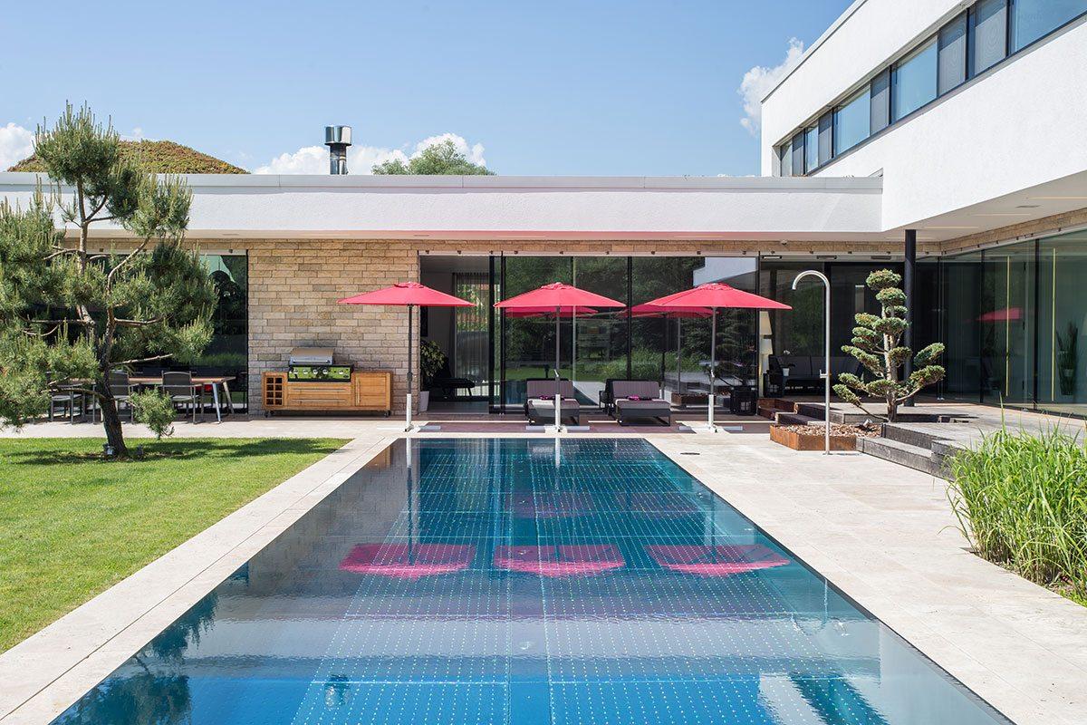 Außenpool - Design Ferienhaus Bauhausvilla Kärnten, Spittal/Millstätter See
